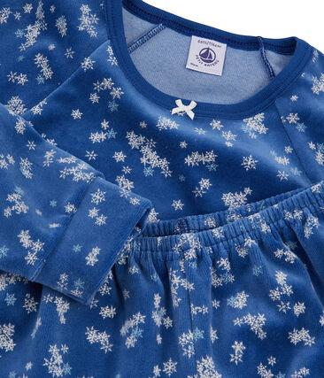 Pijama de punto de terciopelo azul Major / blanco Multico