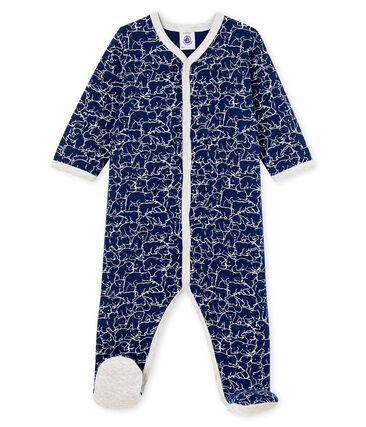 Pijama de muletón para bebé niño azul Major / blanco Marshmallow