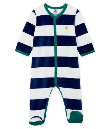 Pijama de terciopelo para bebé niño azul Medieval / blanco Marshmallow