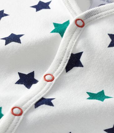 Pelele corto de lino/algodón para bebé de niño blanco Marshmallow / blanco Multico