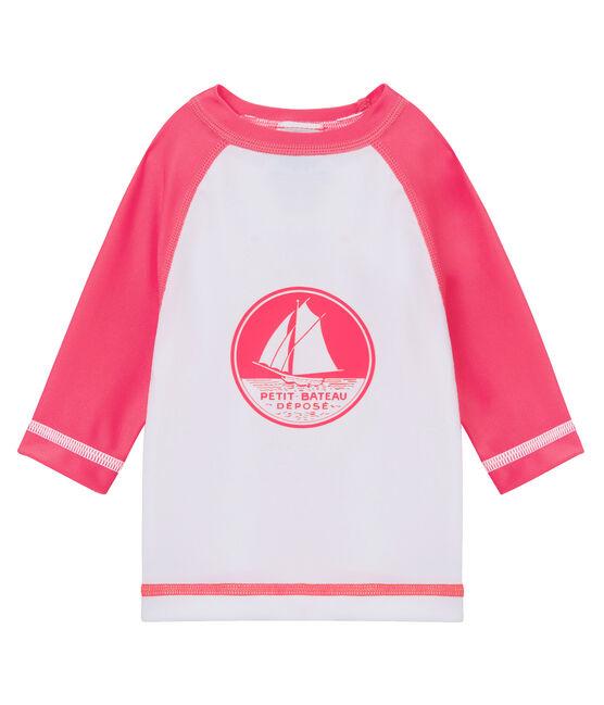 Camiseta anti-UV UPF 50+ para bebé niño/niña blanco Marshmallow / rosa Cupcake