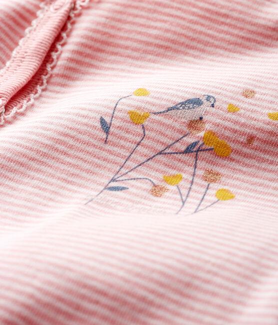 Pijama de punto para bebé niña rosa Charme / blanco Marshmallow