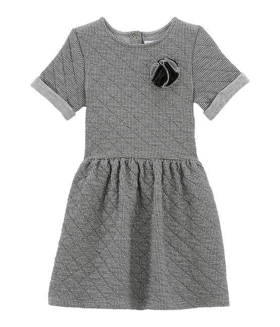 Vestido de manga corta gris Capecod / blanco Marshmallow