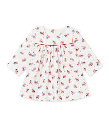 Vestido para bebé niña en túbico estampado blanco Lait / blanco Multico