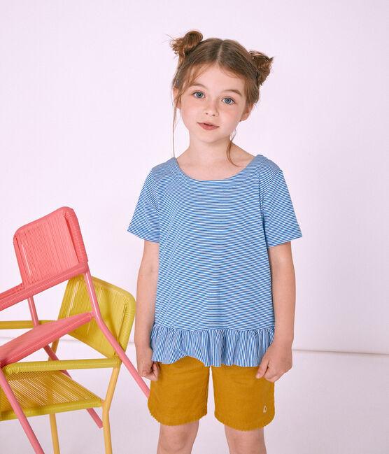Camiseta manga corta infantil para niña azul Riyadh / blanco Marshmallow