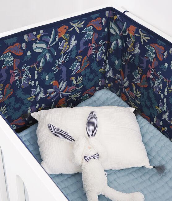 Protector para cuna de punto acanalado con estampado de jungla para bebé azul Medieval / blanco Multico