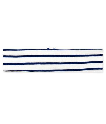 Diadema de rayas para bebé niña blanco Marshmallow / azul Smoking