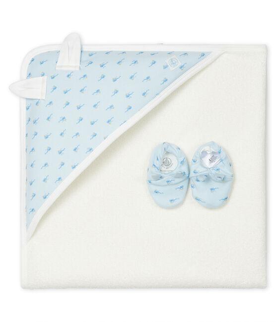 Estuche con toalla cuadrada de baño y patucos para bebé de rizo y punto. azul Fraicheur / blanco Multico