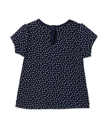 Camiseta estampada para bebé niña azul Smoking / blanco Lait