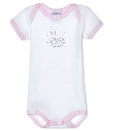 Bodi de manga corta para bebé niña blanco Ecume / rosa Doll