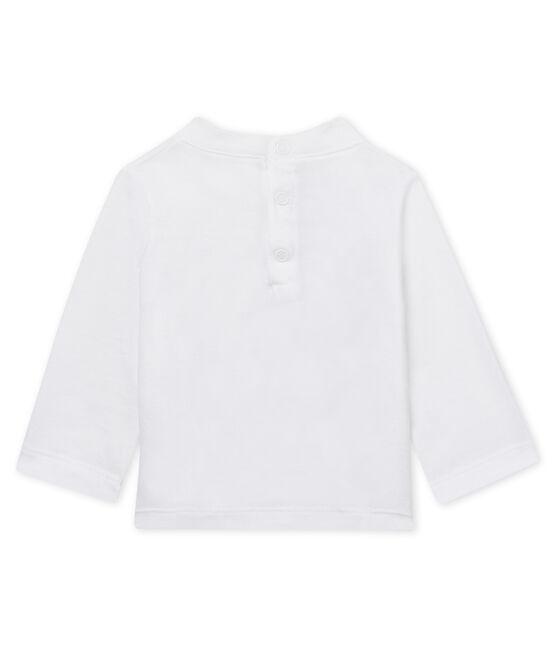 Camiseta manga larga de bebé mixta flocada blanco Marshmallow