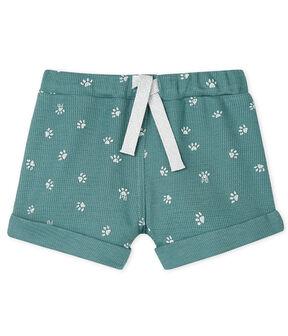 Pantalón corto de malla estampada para bebé azul Brut / blanco Marshmallow