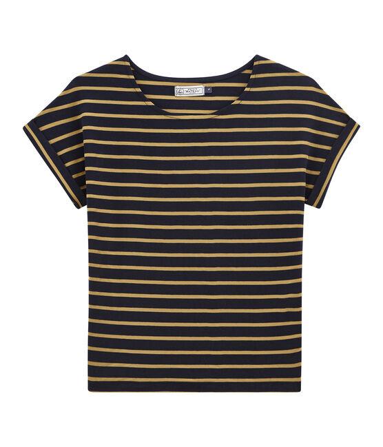 Camiseta de manga corta satinada para mujer azul Smoking / amarillo Brindille Satin
