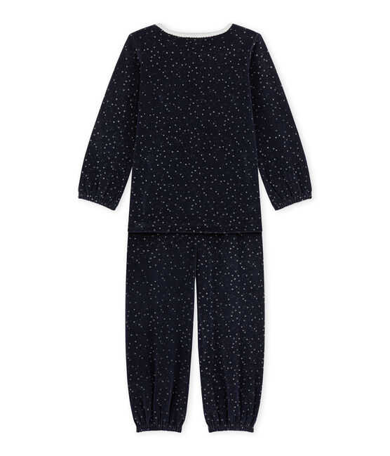 Pijama de terciopelo para niña azul Smoking / gris Argent