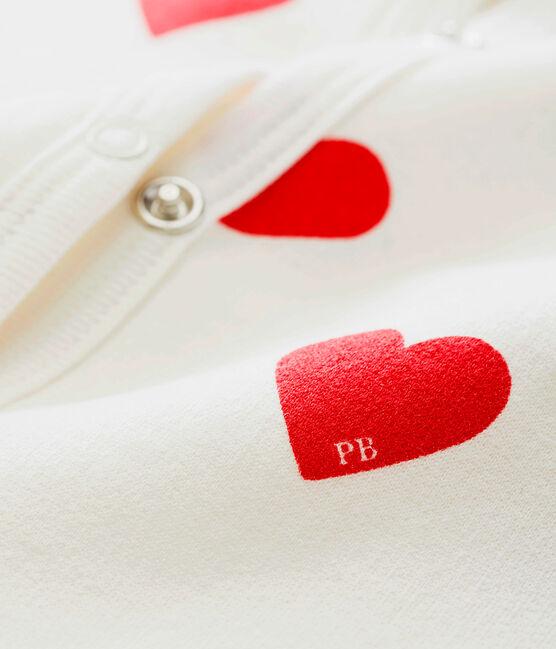 Pelele de punto de canalé con corazones rojos para bebé niña blanco Marshmallow / rojo Terkuit