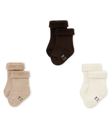 Lote de tres pares de calcetines lisos mixtos de bebé
