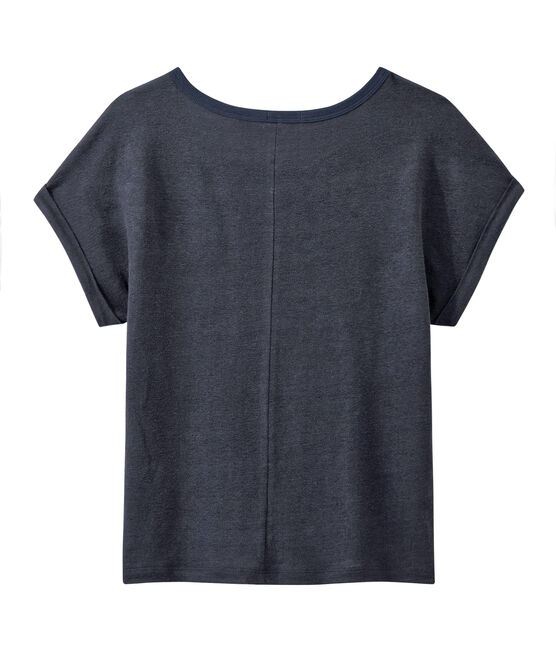 Camiseta de lino brillante para mujer azul Smoking