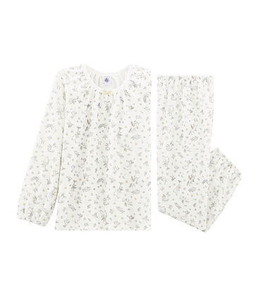 Pijama de punto de terciopelo blanco Marshmallow / blanco Multico