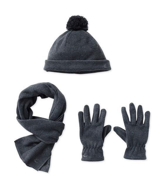 Bufanda, gorro y guantes en polar gris City Chine