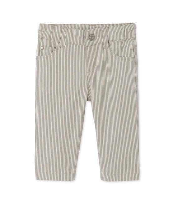 Pantalón de rayas para bebé niño gris Minerai / blanco Lait