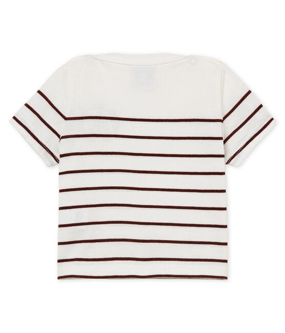 Camiseta manga corta de rayas para bebé niño blanco Marshmallow / rojo Vino