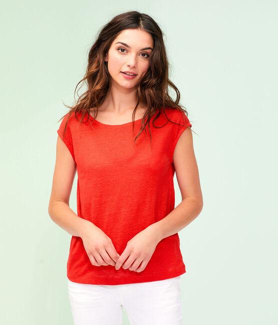 Camiseta de lino para mujer rojo Peps