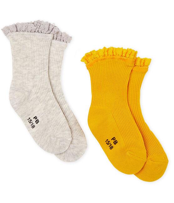 Lote de 2 pares de calcetines con encaje para bebé niña amarillo Boudor