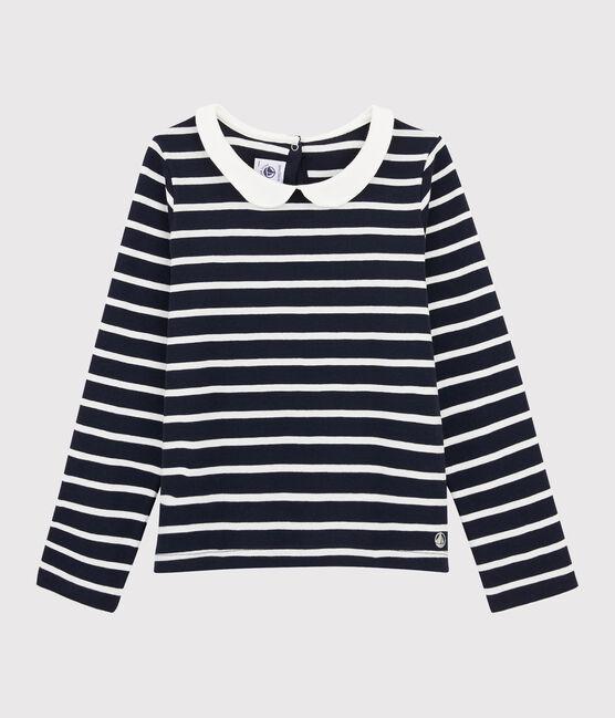 Camiseta de cuello babero de niña azul Smoking / blanco Marshmallow