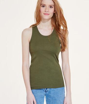 Camiseta sin mangas para mujer en punto original verde Litop