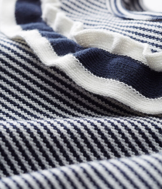 Blusa manga corta milrayas para bebé niña azul Smoking / blanco Marshmallow Cn