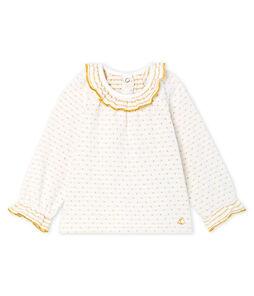 Blusa de manga larga en tela túbica con jacquard para bebé niña blanco Marshmallow / amarillo Or