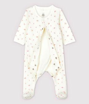 Bodyjama de cerezas de tejido tubular de algodón ecológico de bebé blanco Marshmallow / blanco Multico