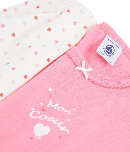 Pijama de corazón para niña de canalé rosa Petal / blanco Multico