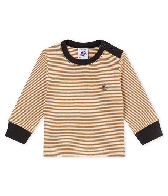 Camiseta con la milrayas para bebé niño marrón Brindille / blanco Marshmallow