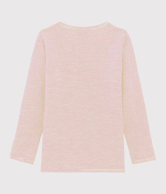 Camiseta infantil de manga larga de lana y algodón mil rayas para niña pequeña rosa Charme / blanco Marshmallow