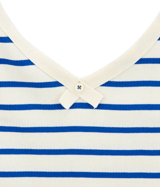 Camiseta de tirantes 100 anos de la braguita mujer beige Coquille / azul Perse