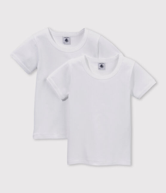 Lote de 2 camisetas blancas de manga corta de niña lote .