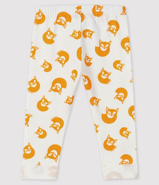 Pantalón de muletón para bebé niño blanco Marshmallow / amarillo Boudor