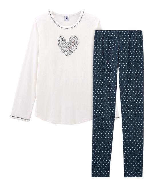 Pijama de punto para chica azul Haddock / blanco Marshmallow