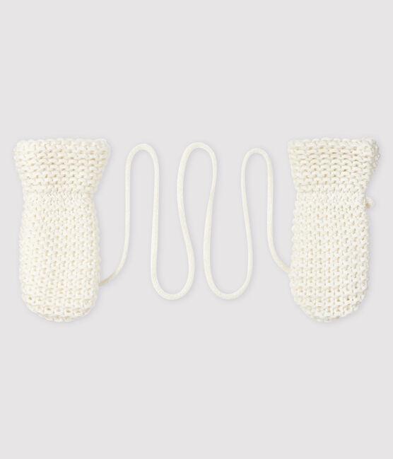 Manoplas para bebé con forro de microfibra polar blanco Marshmallow