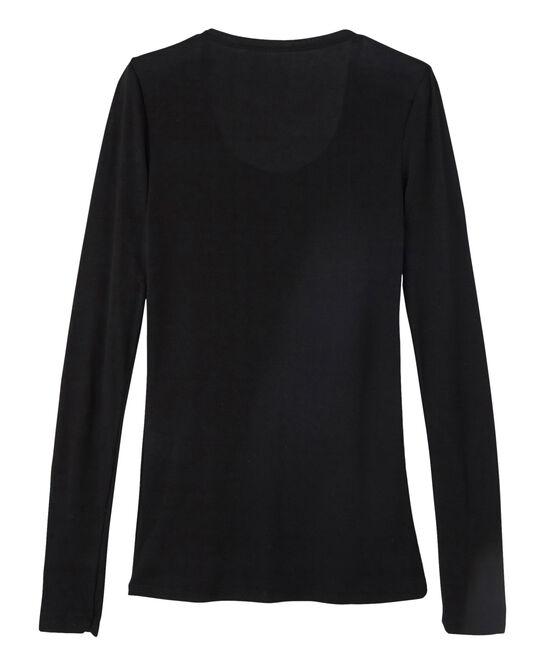 Camiseta de manga larga con cuello de bailarina de mujer negro Noir