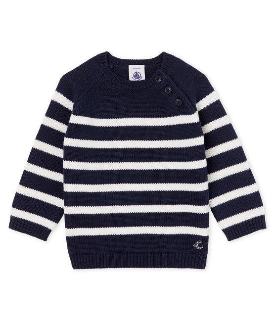 Jersey de rayas en lana y algodón para bebé niño azul Smoking / blanco Marshmallow
