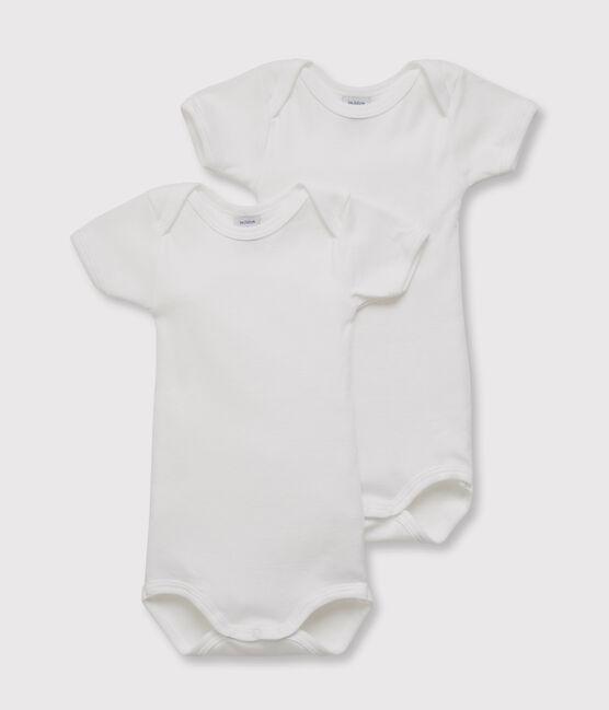 Lote de 2 bodies blancos manga corta bebé niño lote .