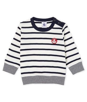 Camiseta de manga larga y rayas para bebé niño blanco Marshmallow / azul Smoking Cn