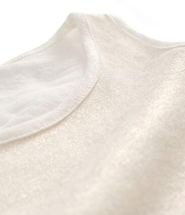 Camiseta de tirantes de lino irisado para mujer blanco Marshmallow / rosa Copper