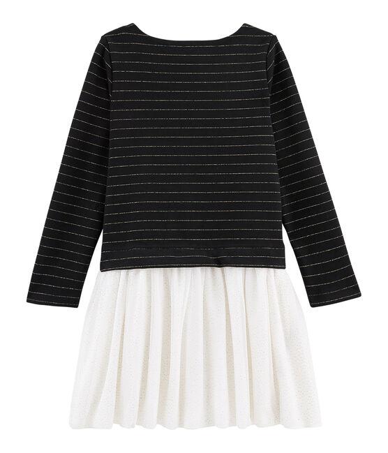 Vestido infantil bimaterial para niña BLACK/OR