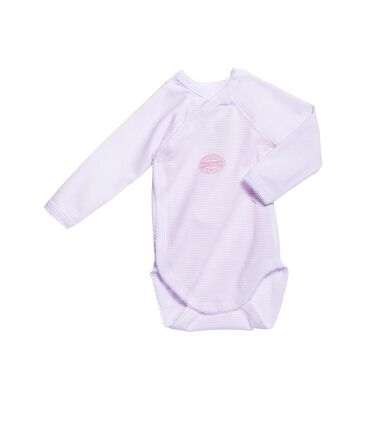 Body de manga larga milrayas de primera puesta para bebé niña rosa Vienne / blanco Ecume