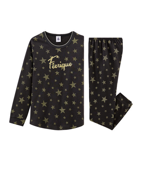 Pijama de punto para niña gris Capecod / amarillo Or