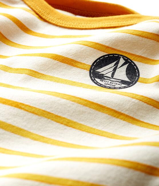 Camiseta de manga larga a rayas para bebé niño blanco Marshmallow / amarillo Boudor