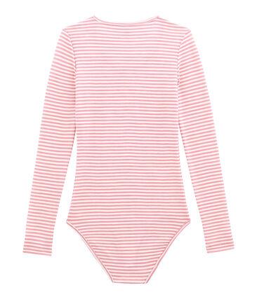 Body de algodón y lana para mujer rosa Cheek / blanco Marshmallow